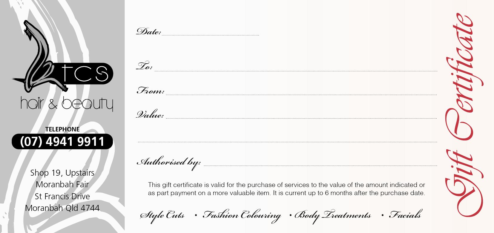 TCS HAIR gift cert