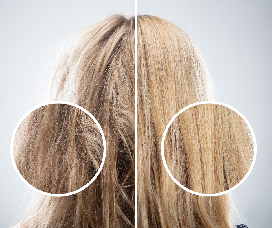 Comparing woman's treated hair